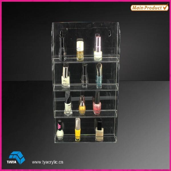 2016 4-lag 40 flasker Kapacitet krystal makeup kosmetiske skærm skelter vægmonteret akryl neglelakse rackdisplay engros