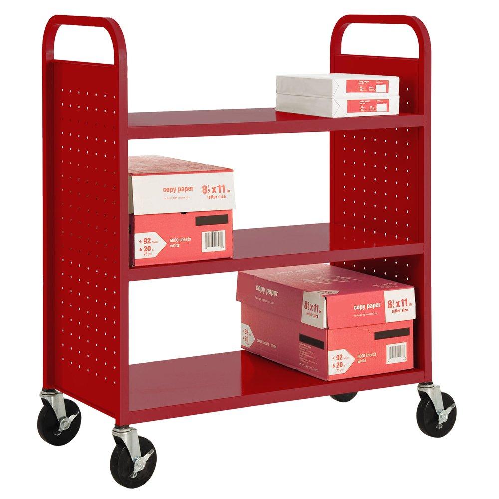 """Sandusky Lee SF336-01 3 Flat Shelf Book Truck, 19"""" Length, 39"""" Width, 46"""" Height, 3 Shelves, Fire Engine Red"""