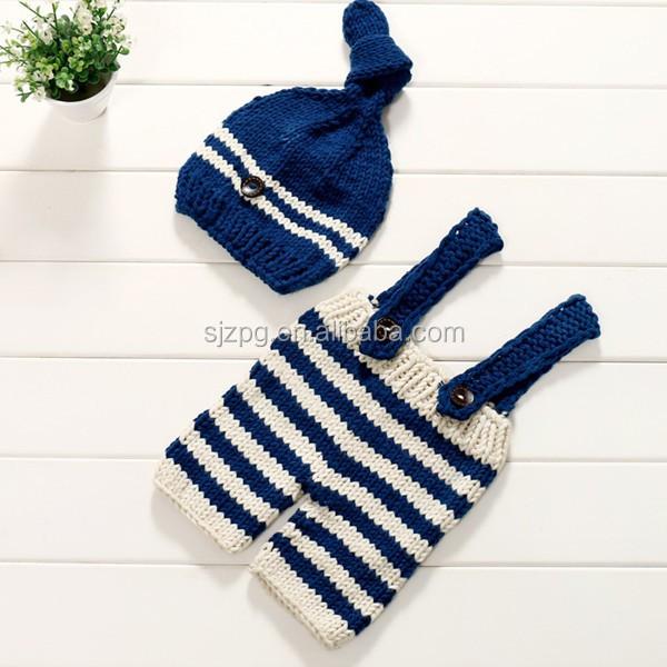 Azul Marino Y Beige Raya Sombrero Y Mameluco Bebé Crochet Traje ...