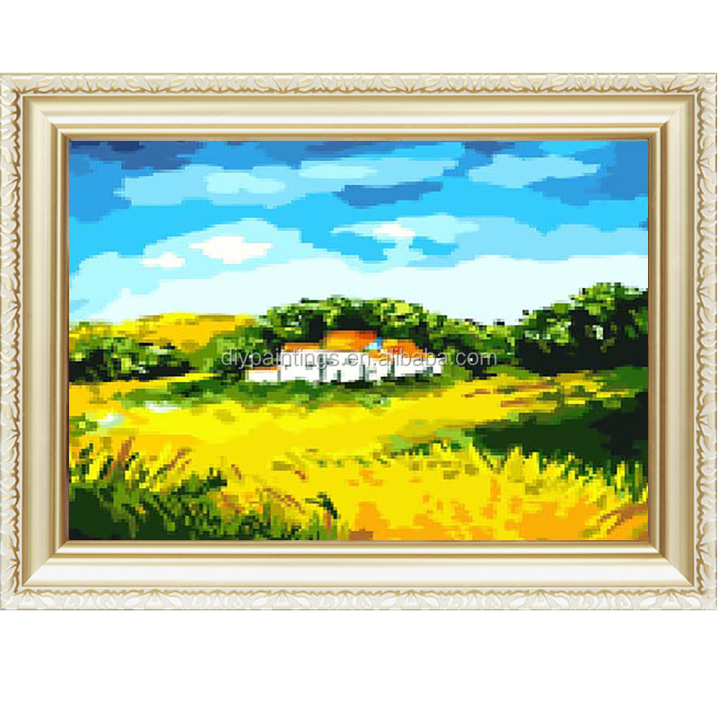 Hot autumn landscape cavas oil diy painting by numbers