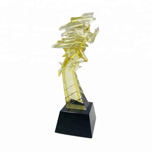Custom sports colored glazed trophy glass sculpture