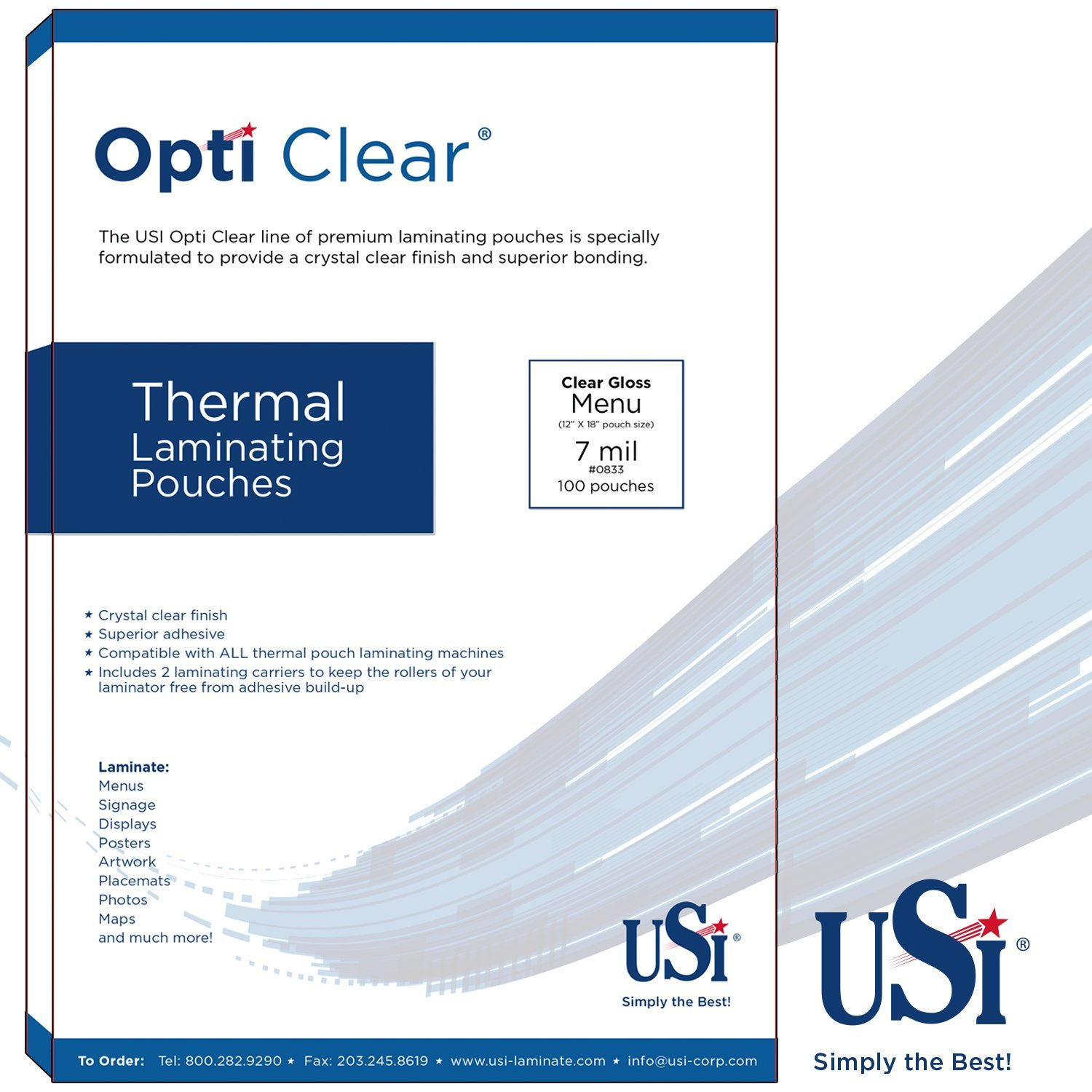 USI Opti Clear PREMIUM Thermal (Hot) Laminating Pouches / Sheets, Menu Size, 7 Mil, 12 x 18 Inches, Clear Gloss, Pack of 200