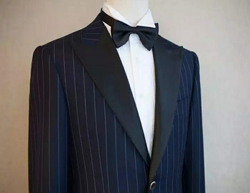 2017 Custom mens dark navy stripe suits