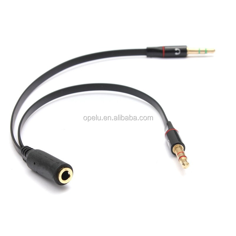Hembra de 3,5 MM a 2 macho Mic auriculares Y Splitter Cable adaptador de Audio de 3,5mm