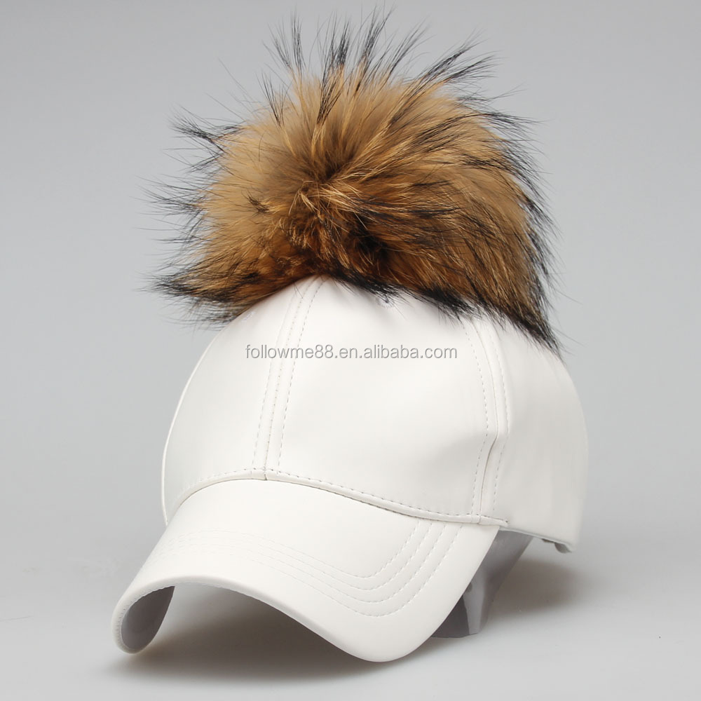 b5df1cc2b19 2019 Latest Design Removable Fur Pom PU Leather Hat Raccoon Fur Baseball Cap