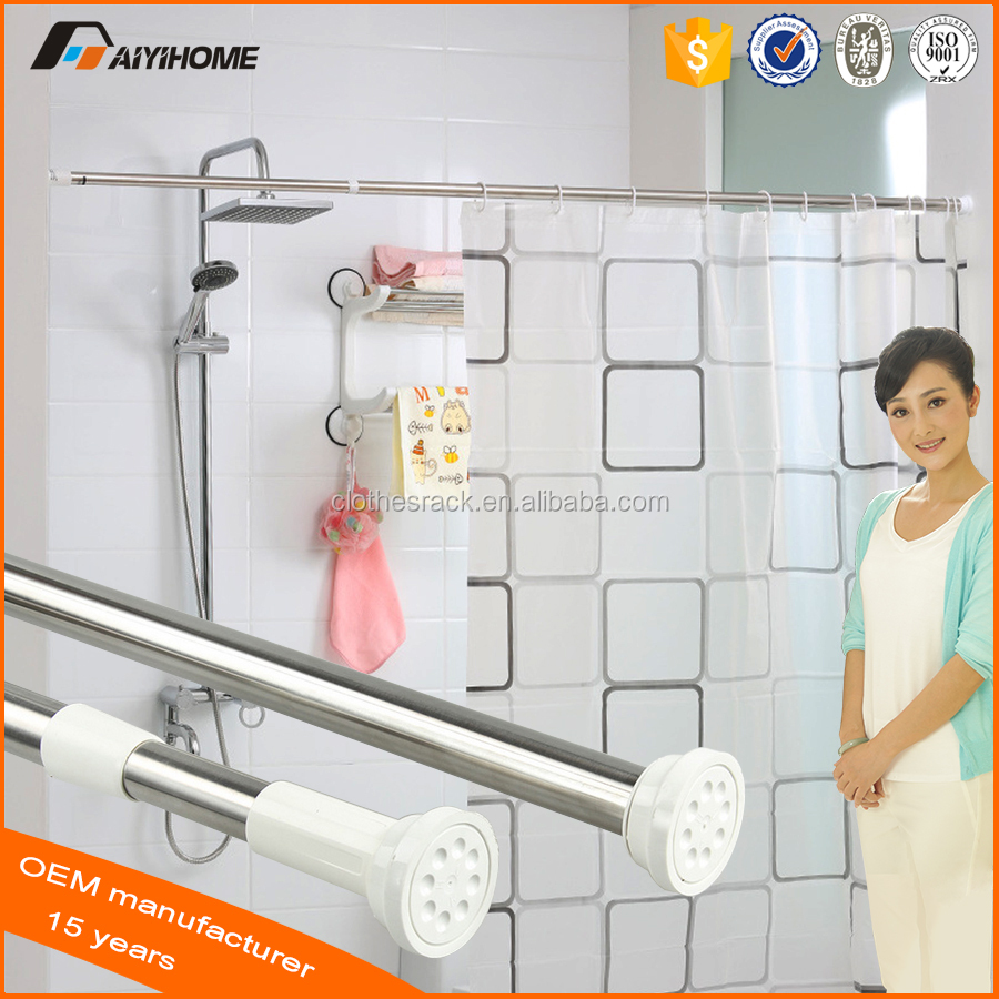 Spring Loaded Extendable Telescopic Shower Rod,Adjustable Tension ...
