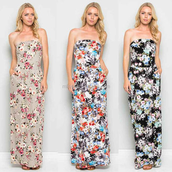 a03b99c922 Party Frocks Designer Frock Patterns Floral TUBE MAXI DRESS tube top  one-piece Dresses For