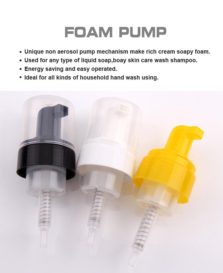 Black foam pump with flat cap 43mm