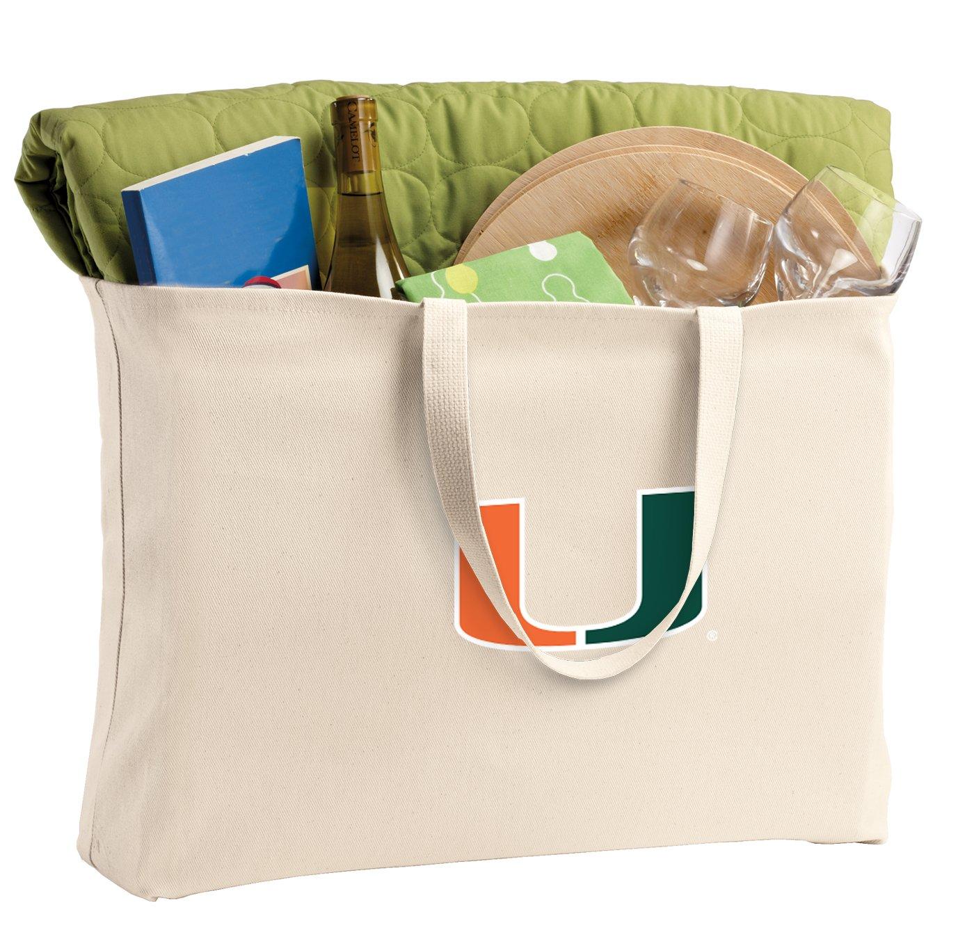 JUMBO University of Miami Tote Bag or Large Canvas Miami Canes Shopping Bag