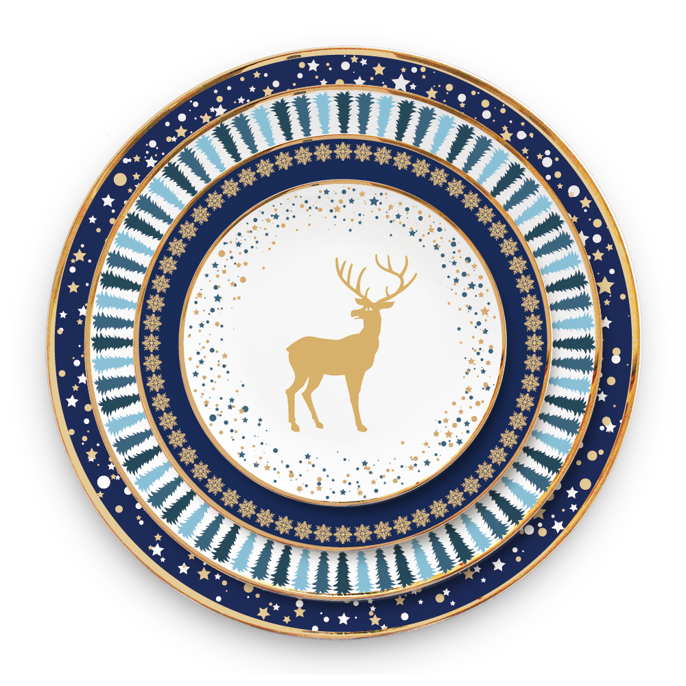 Natale albero di pino di design blu piatto di cena bone china set per la decorazione del partito