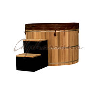 Outdoor Popular & Nice Red Wooden Barrel Hot Tub Good Quality For Sales