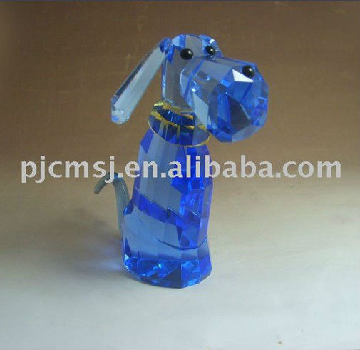 Blue Small Crystal Dog Figurines For Business Gifts