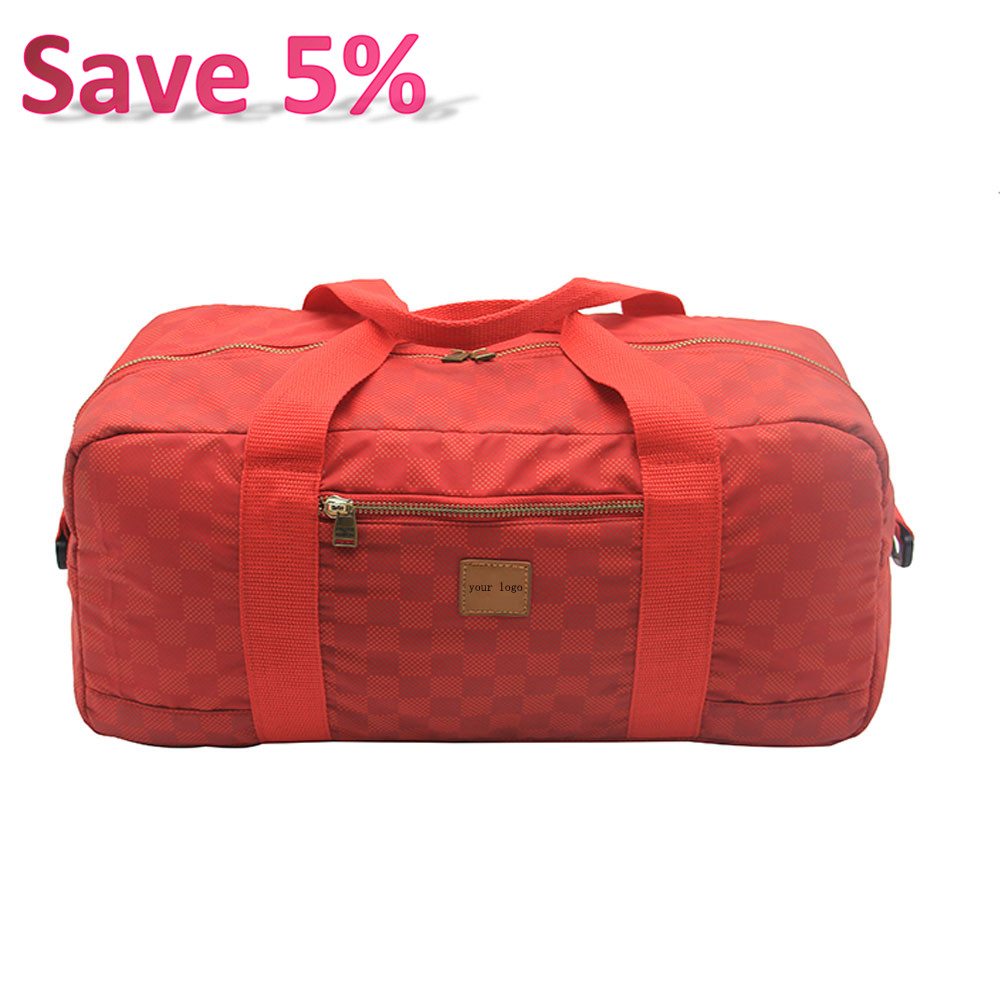 Best Selling Classical Ripstop Nylon Red Weekend Duffle Bag Metal Zipper Luggage Travel Bags with Leather Logo