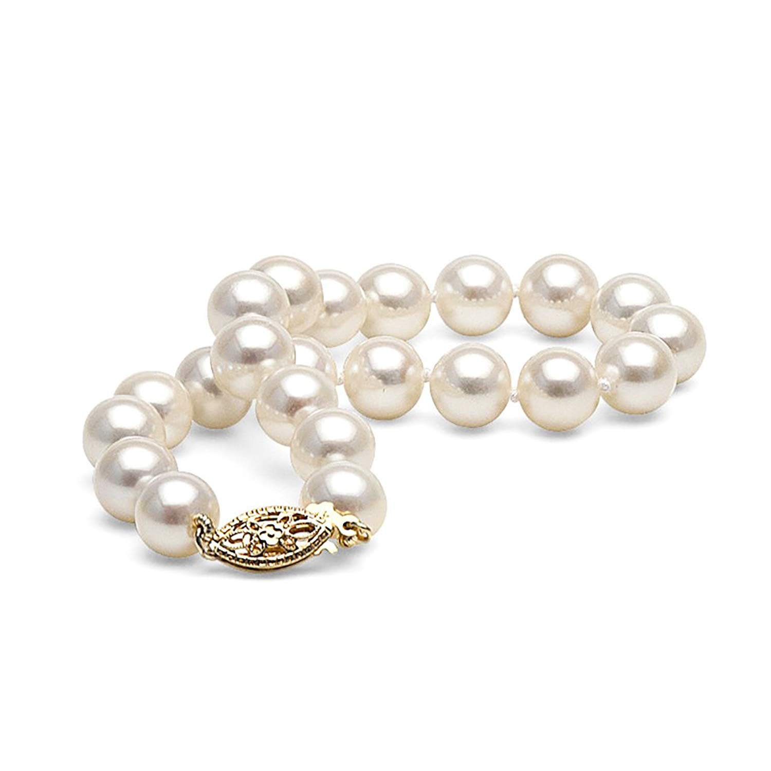 14K Cultured White Freshwater Pearl Bracelet, AA+ Quality, 7.5-Inches (yellow-gold, 7.0-8.0mm)
