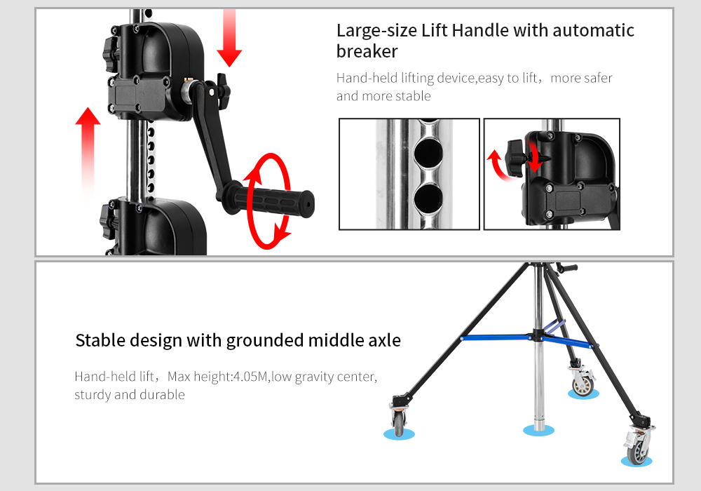 JINBEI 13.28ft / 405cm BM-395 Steel Light Stand with Arm Adjustment Wheel Rail Steel Stand for Studio Commercial Photography