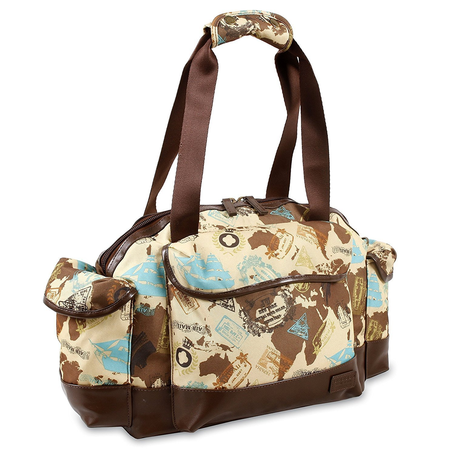 Girls Brown World Map Themed Carry Duffle Bag, Lightweight, Pirates ships Duffel, Handle, Postal Marks, Shoulder Strap Duffel, Kids Travel Luggage, Sleepover, Fashionable