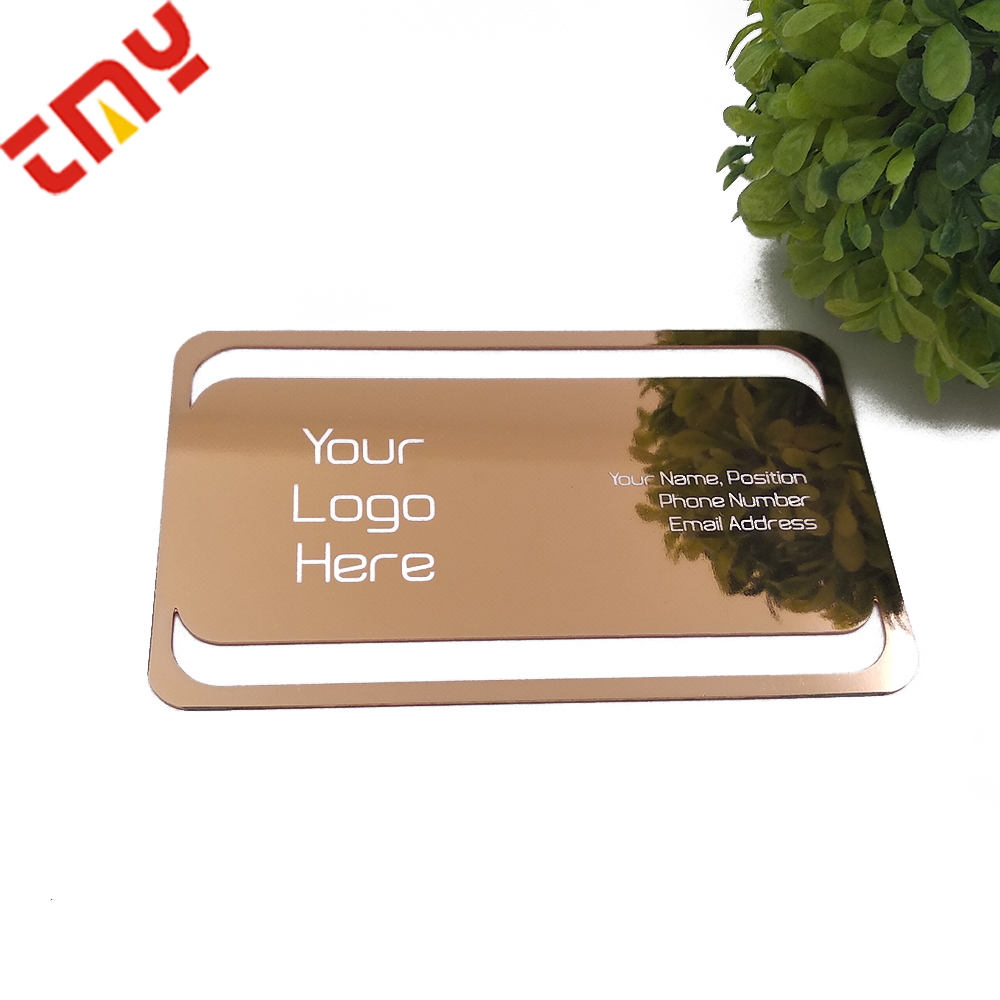 Personality Edge Color Rose Gold High Tech Die Cut Mirror Metal Creative Business Card Printing With Punch Hole
