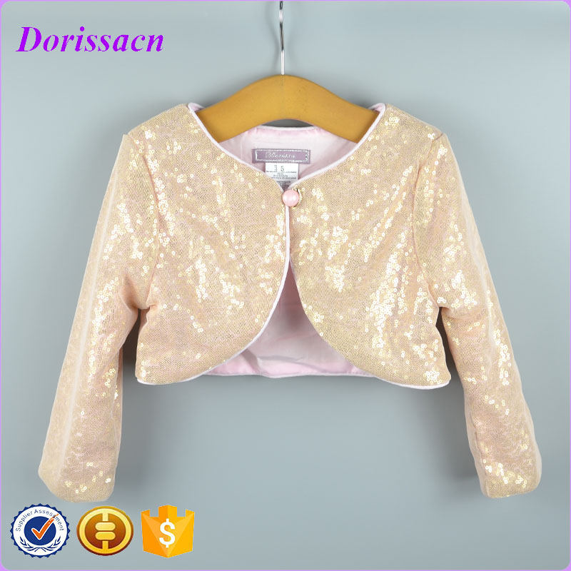 fdc242161fb9 Fashion Gold Sequins Long Sleeve Blink Jacket Children Wear Ivory Clothes  Kids Children Cardigan Shrug Wholesale Clothes Bolero