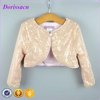 Fashion Gold Sequins Long Sleeve Blink Jacket Children Wear Ivory ...