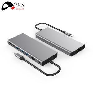 2018 New Product Aluminum usb hub type c adapter with USB 3.1 to 4K HD SD TF for MacBook, USB type-C Multiport Adapter