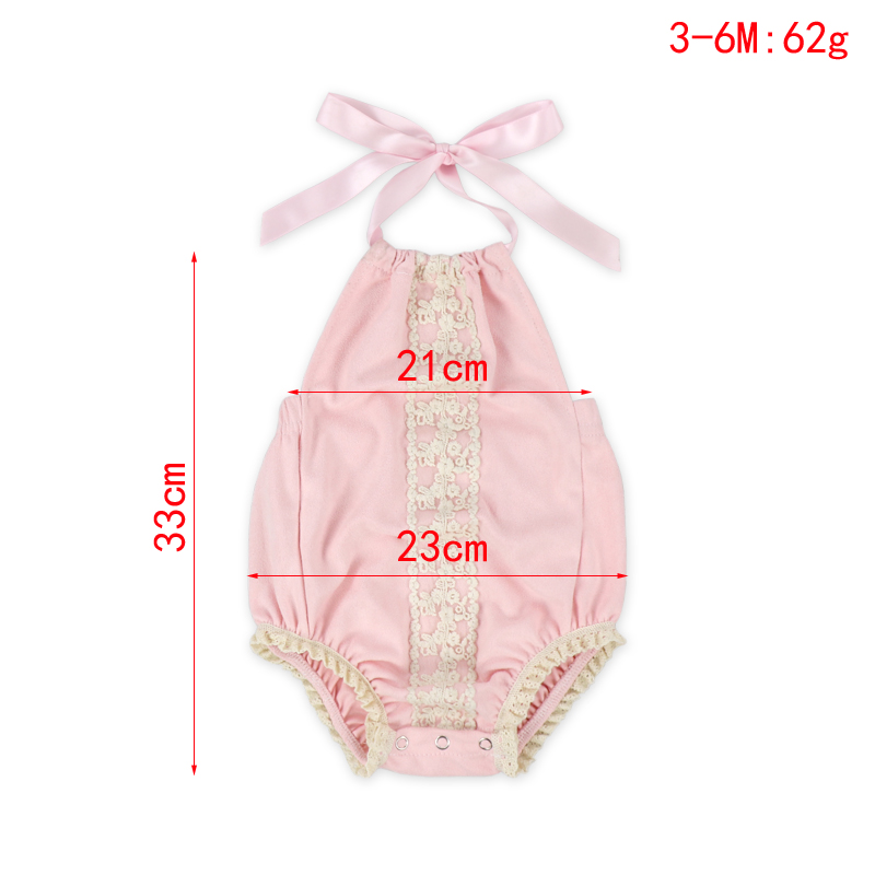 Wholesale Summer Fashion New Born Baby Girl Lace Romper With Lining Halter Rompers