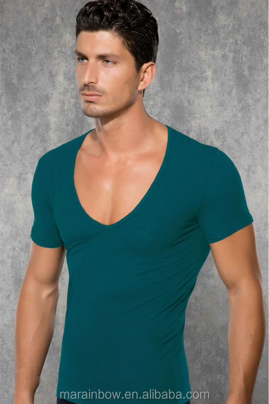 Black 100% Cotton Plain Mens Deep Scoop V Neck T Shirts ...