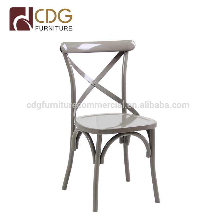 Custom color and craftwork cafe restaurant antique classic accent chair  french stacking cross back chair