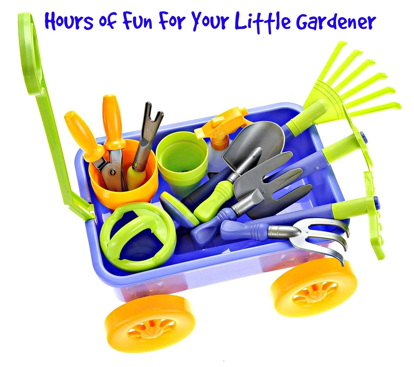 Garden Wagon & Tools Toy Set by Dimple: Premium 15-Piece Gardening Tools & Wagon Toy Set – Sturdy & Durable - Top Yard, Beach, Sand, Garden Toy - Great Christmas Gift for Kids & Toddlers