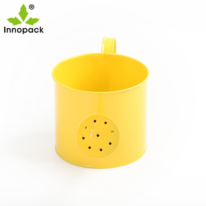 4.5 inch Bright yellow decorating metal plant pots galvanized metal watering can shape flower pot with handle