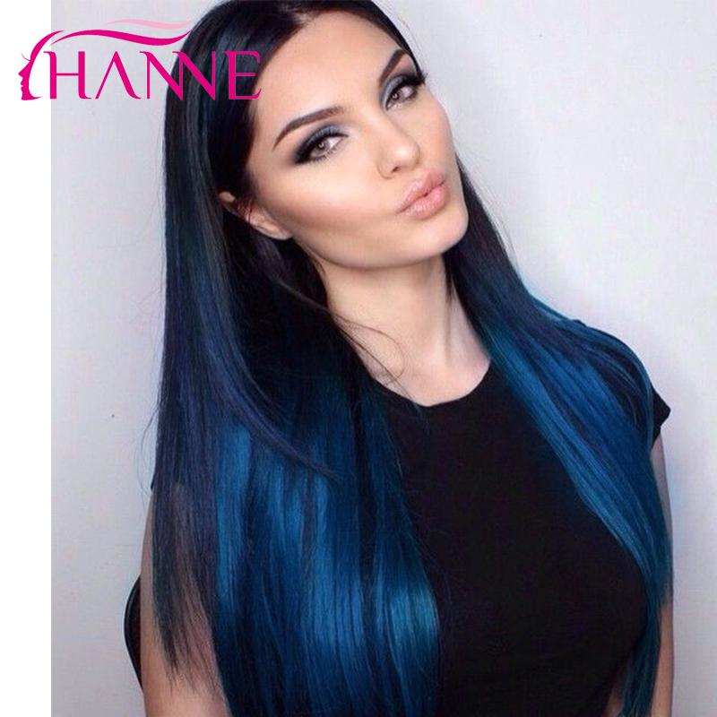 2 Tone Ombre Blue Human Hair Weave 3pcs 7a Colored Brazilian