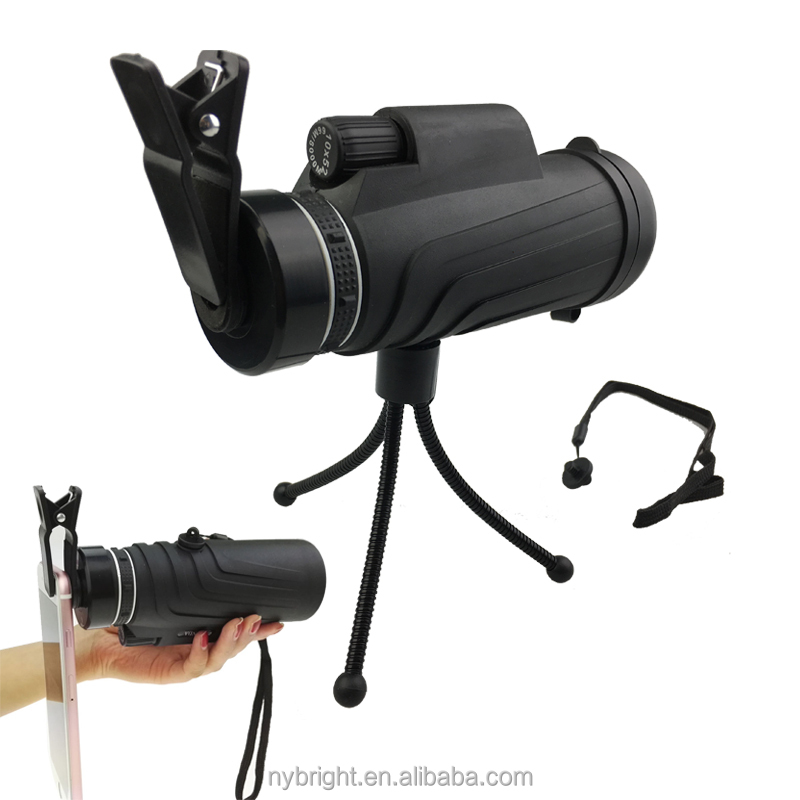 Modern Design Outdoor 10x52 Monocular Telescope With Tripod for Mobile Phone
