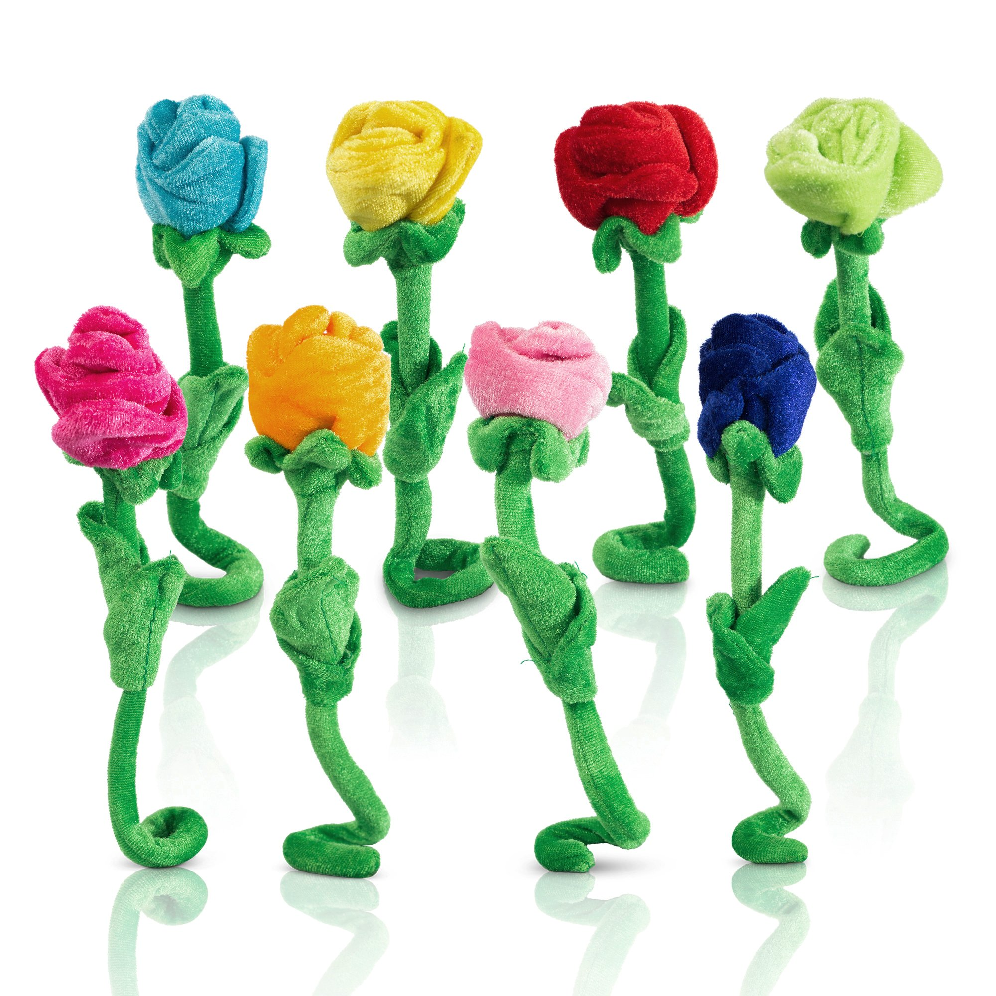 Rose Plush Flower Stuffed Rose With Bendable Stems 8 Pieces Colorful Flower Toy, 12 Inches