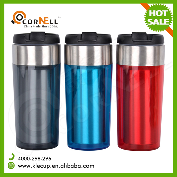 Wholesale custom color Doulbe wall glossy Travel mug promotional stainless steel coffee tumbler mug with rotary lid