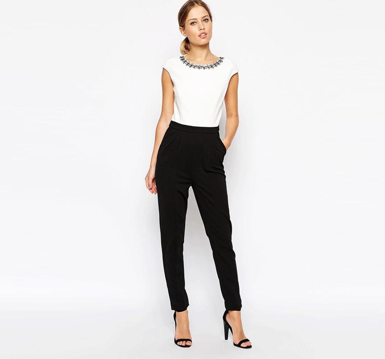 c45866c4771 2015 Fashion Embellished Neckline Casual Jumpsuits Summer Plus size  Jumpsuit Women Wear Chiffon Jumpsuit Wholesale