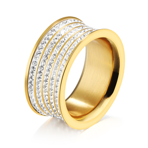 Stainless Steel Jewelry Ring Women Engagement Finger Ring Designs In Gold GJ520