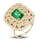 European And American Ladies Zircon Ring Foreign Trade Creative Emerald Vintage Jewelry