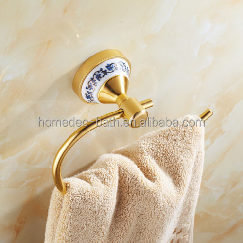 Superior wall mounted hotel bathroom gold small unique towel ring holder