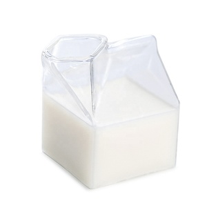Creative Japanese Milk Box Transparent Glass Square Milk Cup