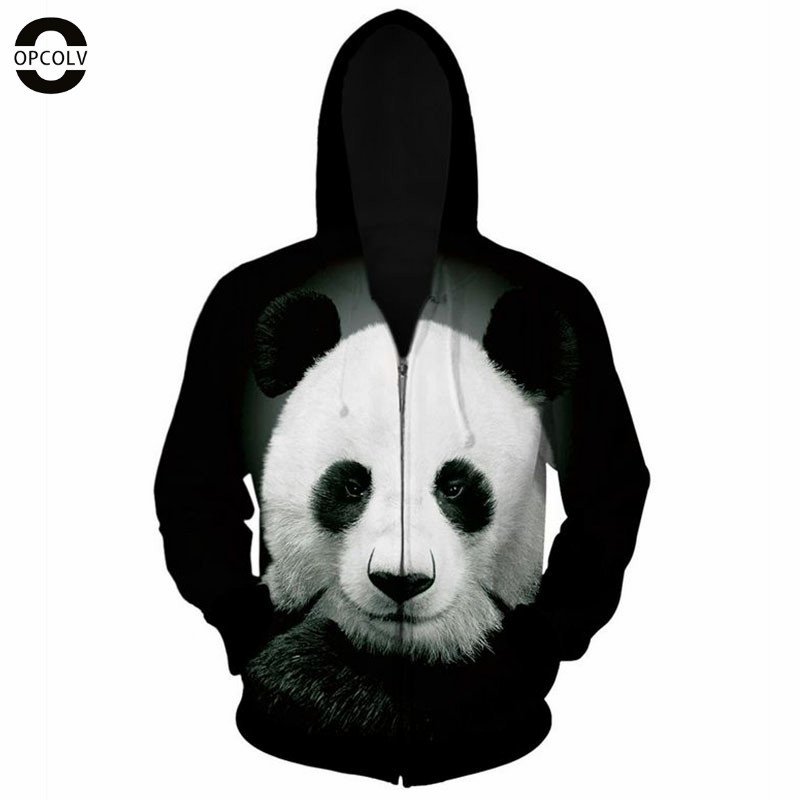 OPCOLV 2015 fashion men/women hip hop zipper 3d hoodies print panda hoodies casual harajuku graphic 3d sweatshirts