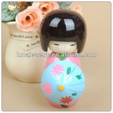 Handicrafts Wooden Japanese Doll For Decoration Custom Character Statue