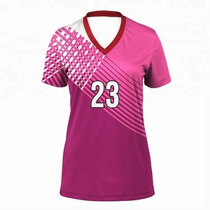 Sublimated Jersey Volleyball Color Pink Custom Volleyball Uniform Designs For Women