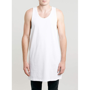 Custom 100% Cotton White Color Men Long Tank Top