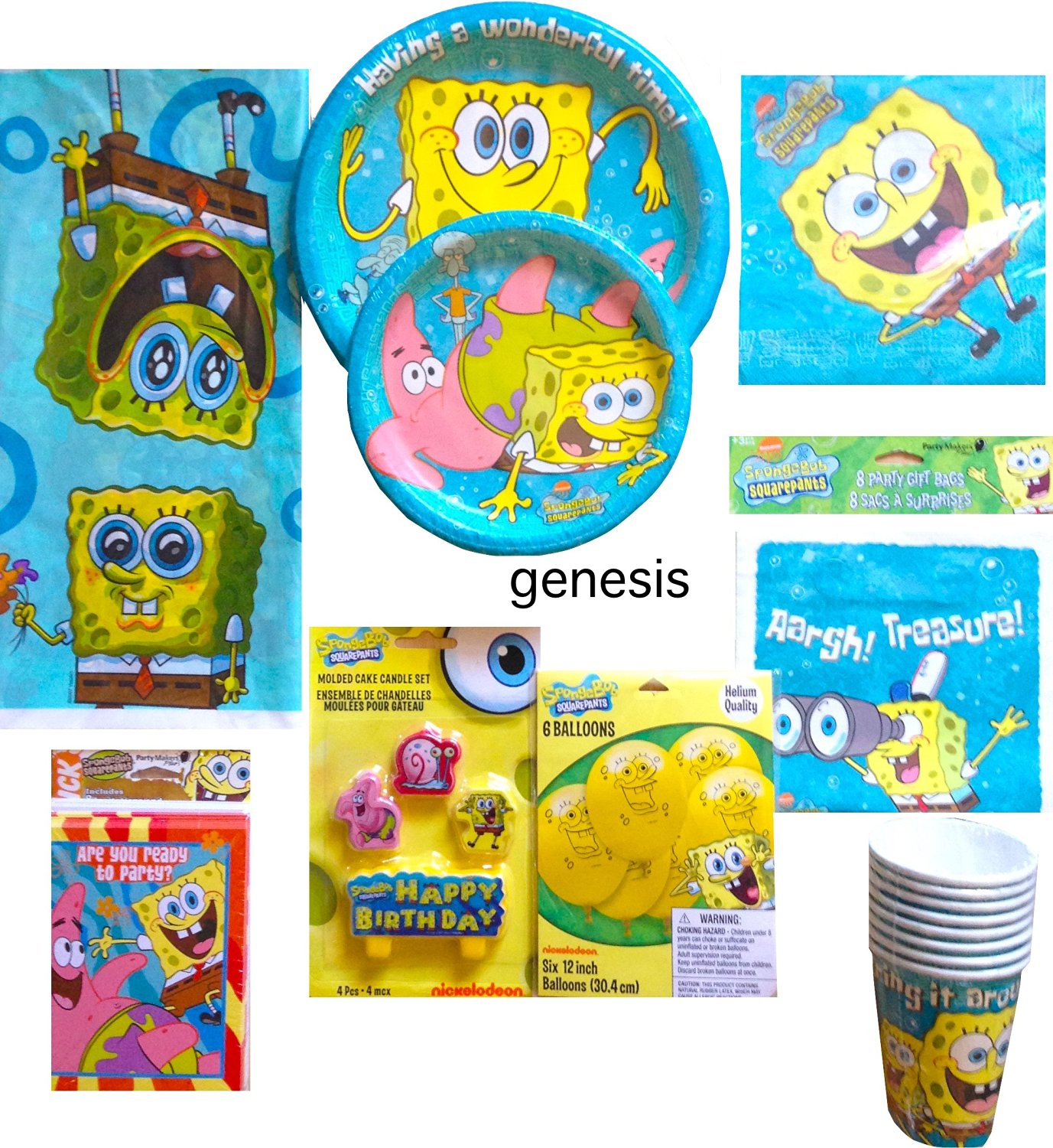 Spongebob Squarepants Children's Ultimate Birthday Supplies Includes Lunch & Dessert Plates, Napkins, Gift bags, Balloons, Candle Set, Invitations, Tablecover, Party Cups (Party For 8)