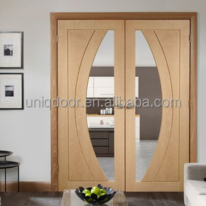 oak veneered wood door pair with safety clear glass inlay french door