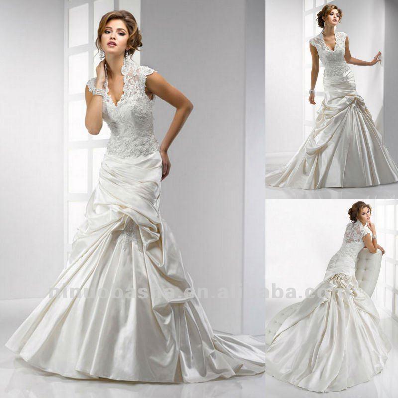 Elegant Lace Cape Sleeves Chapel Train Slight Mermaid Wedding