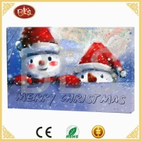 xmas christmas snowman led canvas art print