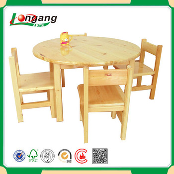 Kids Study Table Solid Wood Round Table Set For Children