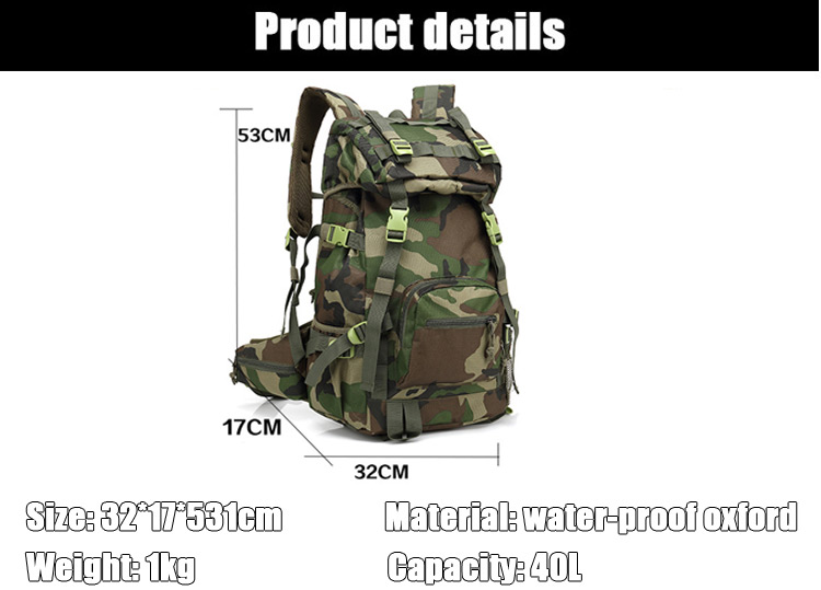 Large capacity quality military adventure outdoor durable water resistant hiking camping backpack bag for traveling