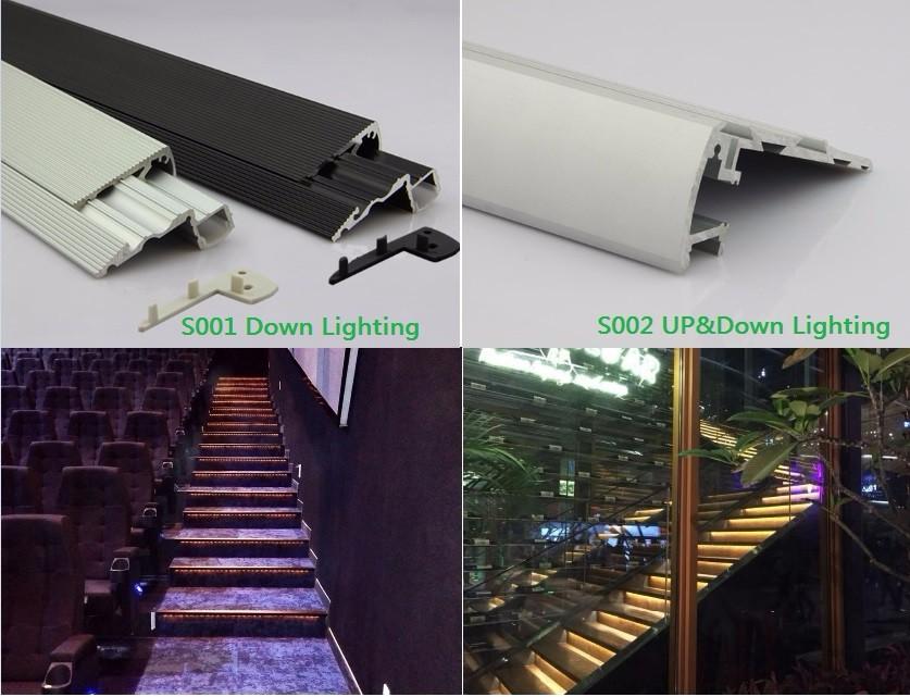 bleu led cin ma nez de marche lumi re led escalier profil en aluminium led tape lumi re. Black Bedroom Furniture Sets. Home Design Ideas
