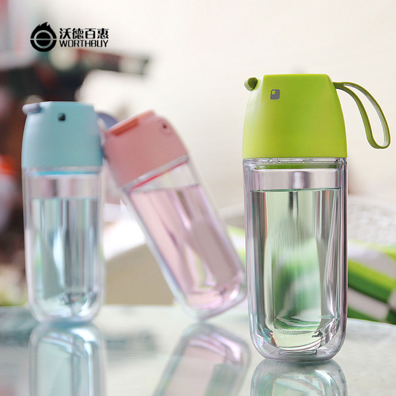 Creative Cute Bird Cartoon Water Bottles Double-Plastic Leak-proof Shaker Bottles Portable Camping <strong>Sport</strong> For Kids Gift Drinkware
